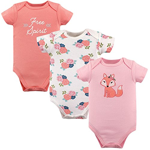 Hudson Baby Baby Cotton Short Sleeve Bodysuits, 3 Pack, Free Spirit, 3-6 - Onesie Free