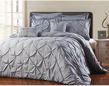 White//Taupe Cal-King Unique Home 8 Piece Maison Pinch Comforter Reversible