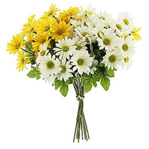 "Larksilk Artificial Daisy Bouquet 14"" - Yellow & White Flowers 6"
