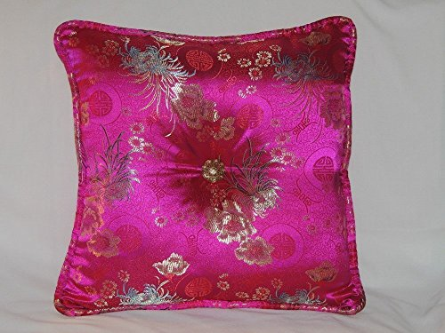 -of-a-Kind Chinese Pink Pillow with Coordinating Piping and unusual center adornment, includes Insert. Handmade in the USA. (Center Piping)