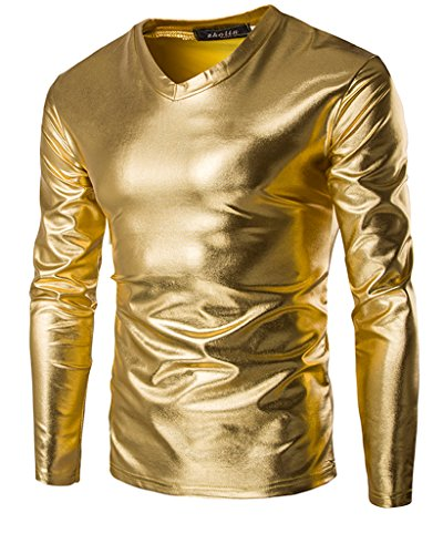 CIC Collection Mens Trend Nightclub Styles Metallic Gold Slim Fit V-neck Long Sleeve T shirts, Gold, US M/Tag L -