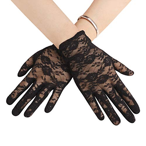 Sexy Floral Bow Lace Short Gloves Women Bridal Wedding Gloves Party Fancy Costumes (Black Lace)