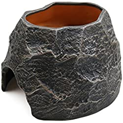 uxcell Terrarium Decorative Rock Black Ceramic Reptile Cave Shelter Hiding Spot for Lizard Snake Frogs Turtles