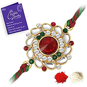 Kundan Rakhi with Roli Chawal and Raksha Bandhan Greeting Card