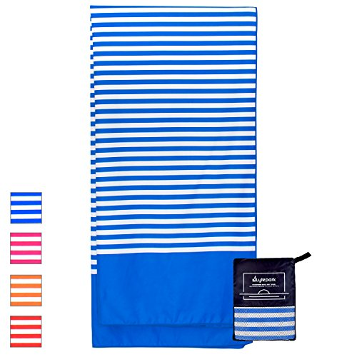 el Oversized - XL 70 x 35 Inch - Quick Dry, Sand Free, Extra Large, Lightweight with Easy Zipper Bag - Perfect for Travel, Yoga, Gym, Beach Blanket & Backpacking - (Blue Ocean) (Oversize Hanging)