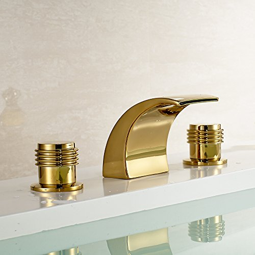 Polished gold widespread faucet pull down polished gold faucet for Polished gold bathroom faucets