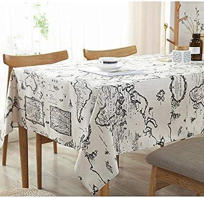 CFWL Mapa Imprimir Mantel de algodón Mantel de Lino Mapa 90 * 90CM Mantel plastico Mesa Rectangular Blanco Mantel Blanco: Amazon.es: Hogar