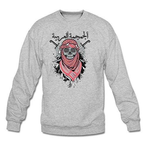 Men's Red Scarf Arabic Skull Classic Long Sleeve Hoodie L Gray