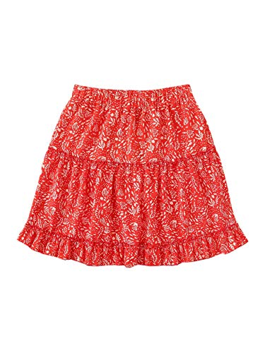 WDIRARA Women's Ditsy Floral A line Tie Front High Waist Ruffle Mini Skirts Red S