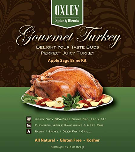 Apple Sage Gourmet Turkey Brine Kit, Includes Brine, Herb Rub and Heavy Duty BPA Free Brine Bag, Brining System For Creating A Fine Dining Experience, Made in USA (Apple Sage)