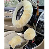 "Yontree Winter Warm Faux Wool Handbrake Cover Gear Shift Cover Steering Wheel Cover 14.96""x 14.96"" 1 Set 3 Pcs (Yellow)"