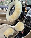 "Automotive : Yontree Winter Warm Faux Wool Handbrake Cover Gear Shift Cover Steering Wheel Cover 14.96""x 14.96"" 1 Set 3 Pcs (Yellow)"