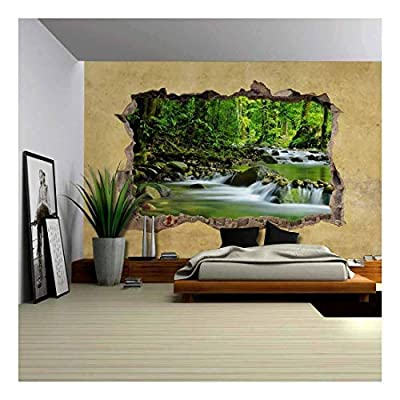 Lovely Object of Art, Cascading Spring in Tropical Rainforest Viewed Through a Broken Wall Large Wall Mural Removable Peel and Stick Wallpaper, Created By a Professional Artist