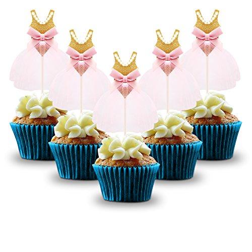 Gold Birthday Cupcake Toppers, Kereda 30 Pack Girls Pink Princess Ballerina Tutu Cake Picks for Party Wedding Bridal Shower Decorations