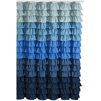 Waterfall Ruffled Fabric Shower Curtain Blue Rain