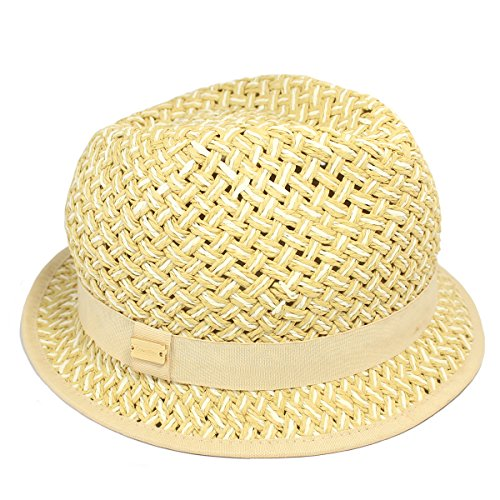 Calvin Klein Women's Packable Graphic Weave Fedora Hat, Natural