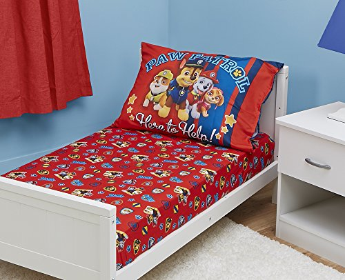 Toddler Set - Paw Patrol Toddler Fitted Sheet and Pillow Case Set, Red