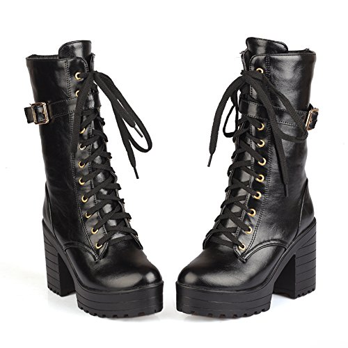 Black Side Round Boots Autumn Up Lucksender Zipper Womens Mid Heels Calf Chunky Lace Toe 8A8Onq