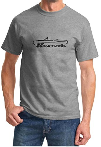 (1967-69 Plymouth Barracuda Convertible Classic Outline Design Tshirt large grey )