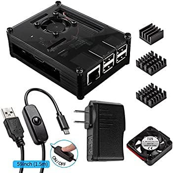 Smraza for Raspberry Pi 3 Case with Fan Cooling and Heatsinks, 5V/2.5A Power Supply, Micro USB with On/Off Switch Case compatible with Raspberry Pi 3 2 Model B 3B,Black(Not include raspberry pi board)
