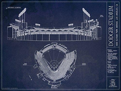 Dodger Stadium Blueprint Style Print (Unframed, 18