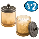 mDesign Fluted Bathroom Vanity Storage Organizer Canister Apothecary Jars for Cotton Swabs, Rounds, Balls, Makeup Sponges, Beauty Blenders, Bath Salts - Pack of 2, Amber/Brown with Bronze Finish Lid