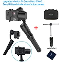 Hohem HG5 Pro 3 Axis Stabilizer Handheld Aluminum Electronic Full 360 Degrees Gimbal for Gopro Hero 6/5/4/3, Sony RX0, Yi Cam 4K, AEE and Similar size Cams including extra battery and tripod stand