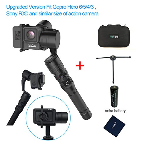 Hohem HG5 3 Axis Stabilizer Handheld Aluminum Electronic Full 360 Degrees Gimbal for Gopro Hero 6/5/4/3, Sony RX0, Yi Cam 4K, AEE and Similar size Cams including extra battery and tripod stand by Hohem