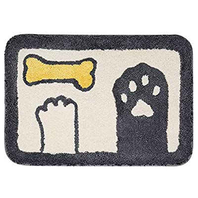 Ankah Bath Mat Cute Shower Rug, Luxury Shaggy High Absorbent and Anti Slip, Machine Washable Fit for Bathtub, Shower and Bath Room (Dog's Paw) - ✦【Ultra Height Density Microfiber】Ankah's cute animal bathroom rug is constructed of premium microfibers, bringing you cozy feeling with soft tactile. Our thick rugs are warm and cozy like walking in between the clouds, that keep your feet dry and comfortable after an enjoyable bath. ✦【Super Water Absorbed】Absorb 3 times of the water than average in a few seconds. Softer and longer shag, specially designed for maximum moisture absorption. Neatly wrapped sides, not easy to get hair loss or off-line. Every time you step out of the shower or bathtub, you can enjoy superior comfort. ✦【Easy to Clean】Unique fiber locking technology, bidding a final farewell to horrible fiber-dropping! After numerous washing machine test, the bath mat looks as good as new. No worries that it could get fibers to come away, very easy to handle and care. - bathroom-linens, bathroom, bath-mats - 51Kypj6mBOL. SS400  -