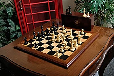 The Superior Grandmaster Chess Set, Box, and Board Combination - Ebonized Boxwood and Natural Boxwood - by The House of Staunton
