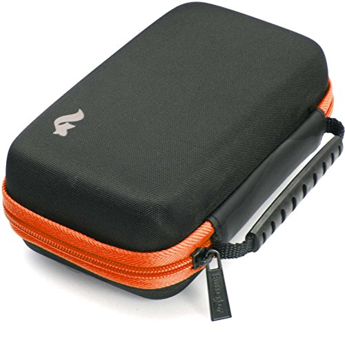 BRENDO Carrying Case for New Nintendo 2DS XL, Includes Large Stylus, Fits Wall Charger, 24 Game Cartridge Case Holder, Large Accessories Pocket - Black/Orange by Butterfox (Image #3)