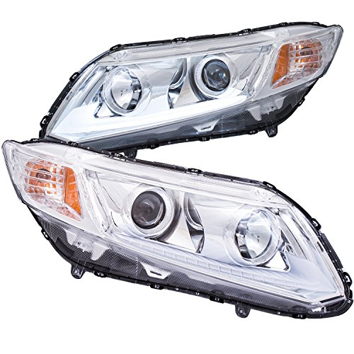 AnzoUSA 121480 Chrome/Clear/Amber Plank Style Projector Headlight for Honda Civic