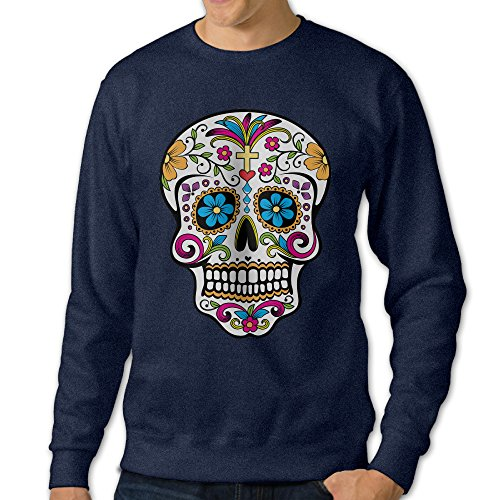 NINJOE Men's Sugar Skull Casul Long Sleeve Tshirt Navy 3X -