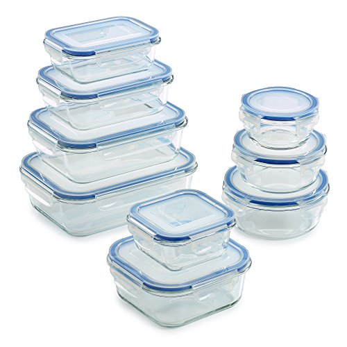 18 Piece Glass Food Storage Container Set - BPA Free - Use for Home, Kitchen and Restaurant - Snap On Lids Keep Food Fresh with Airtight Seal Safe for Dishwasher, Freezer, Microwave and Oven (Storage Container Set)