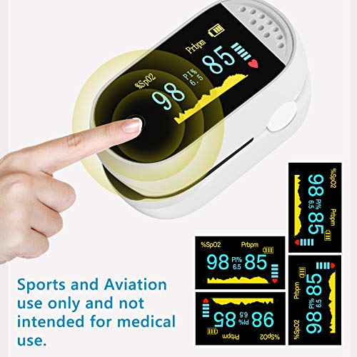 TSAI C101B1 Fingertip Pulse Oximeter Dual Color,Portable Digital Reading LED Display, Batteries,Lanyard Included