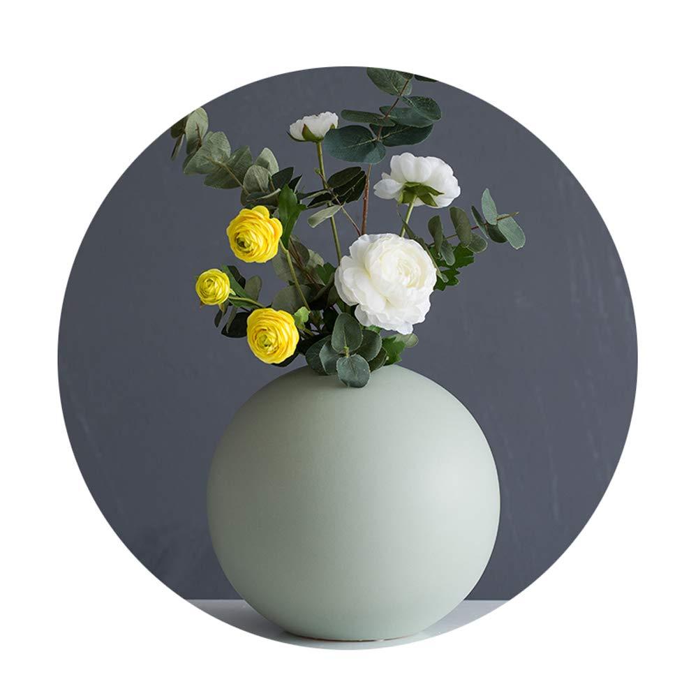 シンプルな丸い花瓶、ヨーロッパのクリエイティブ造花装飾セラミックフラワー花びんホームリビングルームテレビキャビネット、ポーチ、オフィス、レストラン,Green,B B07R16BMDJ Green B
