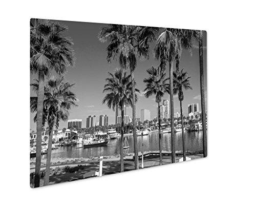 Ashley Giclee Long Beach Marina And City Skyline Long Beach Ca, Wall Art Photo Print On Metal Panel, Black & White, 8x10, Floating Frame, AG5620096