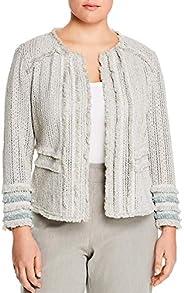 Nic + Zoe Womens Plus Fringe Knit Jacket