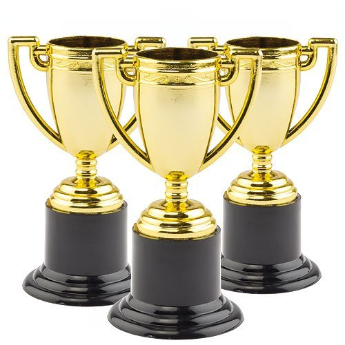 Mini Gold Plastic Trophies 3.54 in. Party Bag stuffers for Boys & Girls, Children's Prizes, Motivational Reward - by Baker Ross (Trophy Figure Gold)