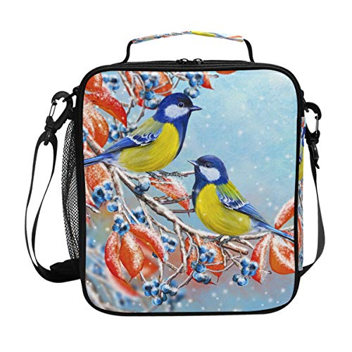 (My Little Nest Insulated Cooler Square Tote Lunch Bag Small Bird Branch Red Leaves Thermal Work Picnic Food Organizer Lunchbox for Women Men)