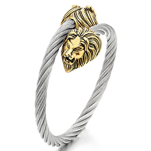 Mens Adjustable Stainless Steel Twisted Cable Cuff Bangle Bracelet with Vintage Gold Color Lion Head