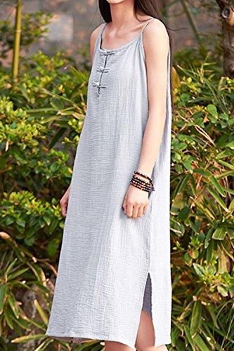 Les sans S'habillent Lin Robes t Manches Coton Occasionnels Femmes Grey twUxw