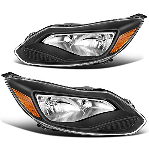 For 2012-2014 Ford Focus Headlights Replacement Black Housing Amber Reflector Clear Lens (Driver and Passenger Side)