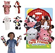 Melissa & Doug Farm Friends Hand Puppets (Set of 4) - Cow, Horse, Sheep, and