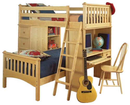 Bolton Furniture 9926200 Mission Loft Bed with Desk, Chest of Drawers and Bookcase, Natural