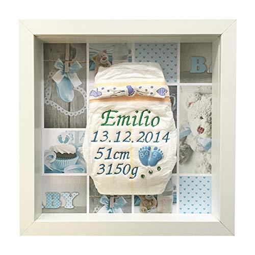 Geschenke zur Geburt Bestickte Windel im Rahmen bestickte Windeln mit Namen /Überraschung zur Geburt Junge Babyf/ü/ßchen 2 Babymotiv