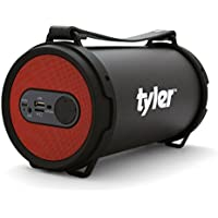Tyler Portable Wireless Bluetooth Speaker TWS403-RD, Indoor/Outdoor 2.1 Hi-Fi Stereo Cylinder Loud Speaker, with Dual High Performance Drivers, SD Card Input, Aux Line-In, FM Tuner, and USB Port, Red