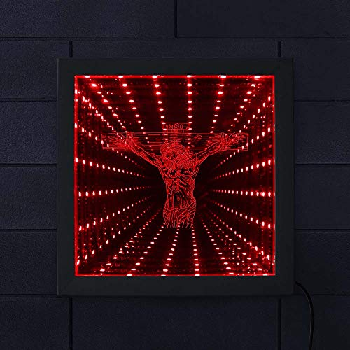 The Geeky Days Jesus On Cross LED Lighting Infinity Mirror Tunnel Vision Wood Frame Christ Lighted Mirrors Religious Home Decor Christian Gift