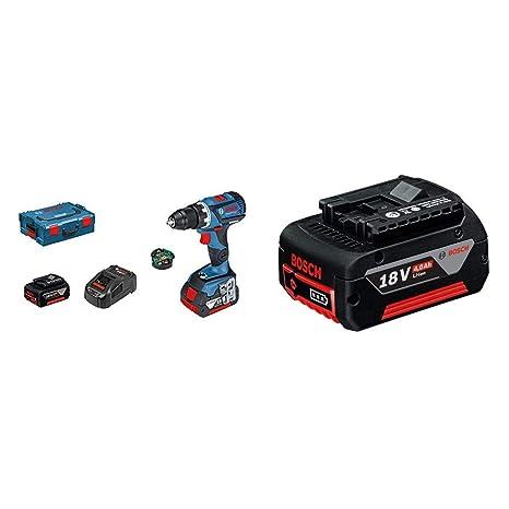 Bosch Profesional GSR 18V-60 C Atornillador a Batería Gama Dynamic, 2 baterías x 5.0 Ah, 18 V, módulo Connectivity + Bosch Professional - Batería de ...