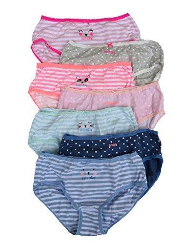 - Carter's OshKosh B'Gosh Girl's 7-Pack Weekday Stretch Cotton Panties (4, Pink-Faces (33061211) / White-Polka-Dots/Blue-Green-Stripes)